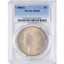 1880-S $1 Morgan Silver Dollar Coin PCGS MS65 Amazing Toning