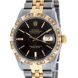 Rolex Mens Two Tone 14K Black Index Pyramid Diamond Bezel Datejust Wristwatch