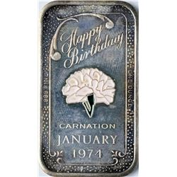 January 1974 Happy Birthday Enamel Silver Art Bar