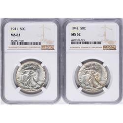 Lot of 1941-1942 Walking Liberty Half Dollar Coins NGC MS62