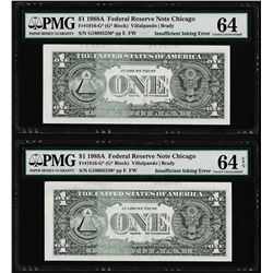 (2) Consec 1988A $1 Federal Reserve STAR Notes Insufficient Ink ERROR PMG Ch. Un