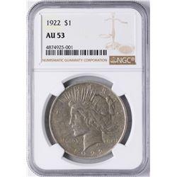 1922 $1 Peace Silver Dollar Coin NGC AU53