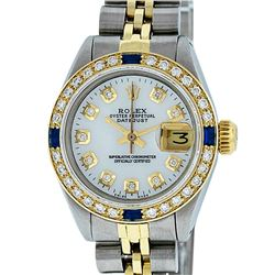 Rolex Ladies Two Tone MOP Diamond & Sapphire Datejust Wristwatch