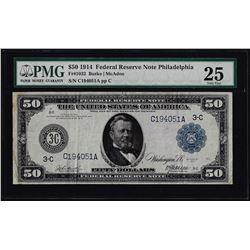 1914 $50 Federal Reserve Note Philadelphia Fr.1032 PMG Very Fine 25