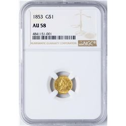 1853 $1 Indian Princess Head Gold Dollar Coin NGC AU58