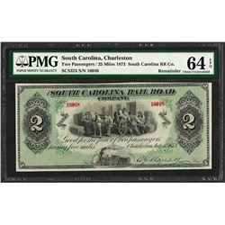 1873 $2 South Carolina Rail Road Company Obsolete Note PMG Choice Uncirculated 6