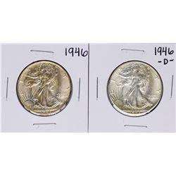 Lot of 1946 & 1946-D Walking Liberty Half Dollar Coins