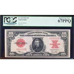 1923 $10 Poker Chip $10 Legal Tender Note Fr.123 PCGS Superb Gem New 67PPQ