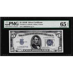 1934B $5 Silver Certificate Note Fr.1652 PMG Gem Uncirculated 65EPQ