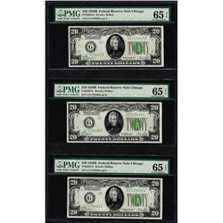 Lot of (3) 1928B $20 Federal Reserve Notes Fr.2052-G PMG Gem Uncirculated 65EPQ