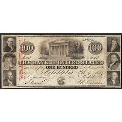 1837 $100 The Bank of the United States Philadelphia Obsolete Note