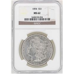 1894 $1 Morgan Silver Dollar Coin NGC MS62