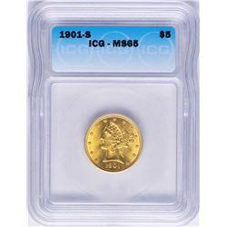 1901-S $5 Liberty Head Half Eagle Gold Coin ICG MS65