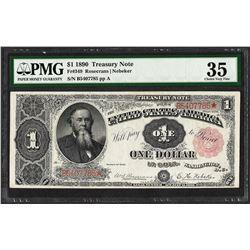 1890 $1 Treasury Note Fr.349 PMG Choice Very Fine 35
