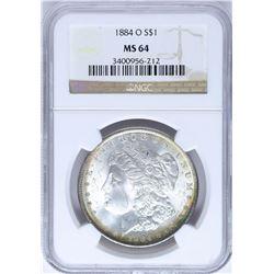 1884-O $1 Morgan Silver Dollar Coin NGC MS64 Nice Toning Chipped Holder