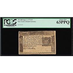 September 2, 1775 $5 New York Colonial Currency Note PCGS Choice New 63PPQ