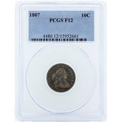 1807 Draped Bust Dime Coin PCGS F12