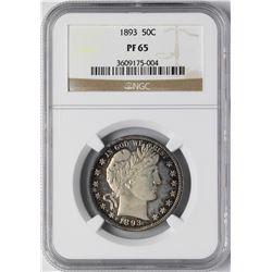 1893 Proof Barber Half Dollar Coin NGC PF65