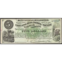 April 1, 1882 Chicago Burlington and Pacific Railroad Company Obsolete Note