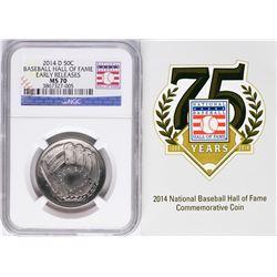2014-D Baseball Hall of Fame Half Dollar Coin NGC MS70
