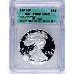 2003-W $1 Proof American Silver Eagle Coin ICG PR69DCAM