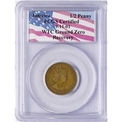 WTC Ground Recovery 1963 Jamaica 1/2 Penny Coin PCGS Graded