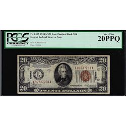 1934A $20 Hawaii Federal Reserve Note WWII Emergency Note PCGS Very Fine 20PPQ