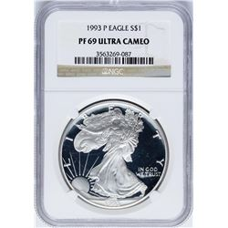 1993-P $1 Proof American Silver Eagle Coin NGC PF69 Ultra Cameo