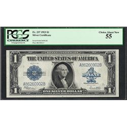 1923 $1 Silver Certificate Note Fr.237 PCGS Choice About New 55