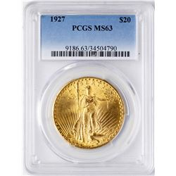 1927 $20 St. Gaudens Double Eagle Gold Coin PCGS MS63