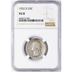 1932-D Washington Quarter Coin NGC VG8