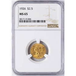 1926 $2 1/2 Indian Head Quarter Eagle Gold Coin NGC MS65