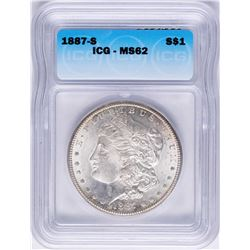 1887-S $1 Morgan Silver Dollar Coin ICG MS62