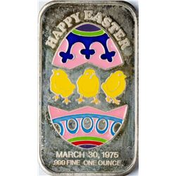 March 30, 1975 Easter Greetings Enamel Silver Art Bar