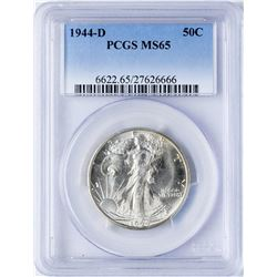1944-D Walking Liberty Half Dollar Coin PCGS MS65