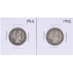 Lot of (2) 1915 Barber Quarter Coins