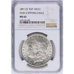 1891-CC $1 Morgan Silver Dollar Coin VAM-3 Spitting Eagle NGC MS62