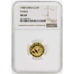1988 China 1/10 oz. Panda 10 Yuan Gold NGC MS69