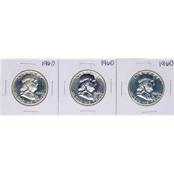Lot of (3) 1960 Proof Franklin Half Dollar Coins