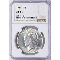 1934 $1 Peace Silver Dollar Coin NGC MS61