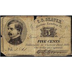 Scarce Bartons Landing Vermont Five Cents Script