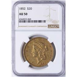 1852 $20 Liberty Head Double Eagle Gold Coin NGC AU50