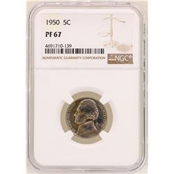 1950 Jefferson Nickel Proof Coin NGC PF67