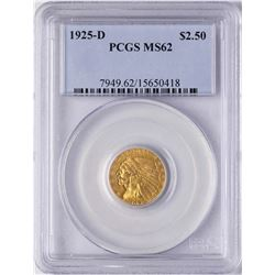 1925-D $2 1/2 Indian Head Quarter Eagle Gold Coin PCGS MS62