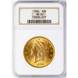 1896 $20 Liberty Head Double Eagle Gold Coin NGC MS62