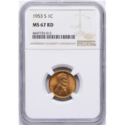 1953-S Lincoln Wheat Cent Coin NGC MS67RD