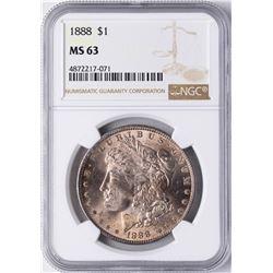 1888 $1 Morgan Silver Dollar Coin NGC MS63 Nice Toning