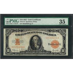 1922 $10 Gold Certificate Note Fr.1173 PMG Choice Very Fine 35