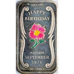 September 1974 Happy Birthday Enamel Silver Art Bar