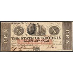 1862 $10 The State of Georgia Obsolete Note